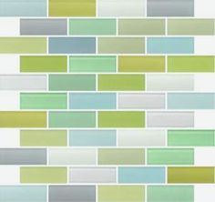 Pastel beach glass, $17 sq ft on sale, @Lauren McGahey AilesToo Pastel? Love these colors, I think this would be beautiful up against a dark stain counter, white cabs--pick one of those greens and paint the back of the glass fronted cabinets:)