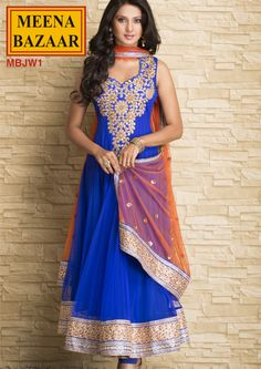 MBJW1 Embroidered Anarkali Suit with Gota Border on Nett Fabric