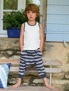 Pyjacourt garçon débardeur et sarouel GRIS CHINE/KAKI+BLANC CASSE/RAYE - vertbaudet enfant