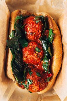 vegan white bean + mushroom 'meatball' subs via @sobremesablog