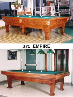 Mod. EMPIRE Pool Table with Dining setup by Etrusco of Mosti Cesare.