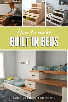 Find out how to make custom built in beds with tons of storage! Make a unique desk top using reclaimed lumber and epoxy resin. Incorporate the desk into storage stairs for these built in bunk beds.l Decor Style Home Decor Style Decor Tips Maintenance home Built In Bunks, Built In Bed, Loft Spaces, Small Spaces, Small Rooms, Reclaimed Wood Desk, Reclaimed Lumber, Bunk Beds With Stairs, Transitional Home Decor