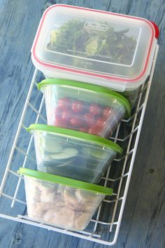 DIY fridge salad bar.  Prep ingredients on Sunday to have for the rest of the week. These particular containers and basket fit together like a puzzle to save space in the fridge.