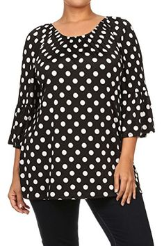 Pastel by Vivienne Womens Polka dot Kimono Sleeve Convertible Tunic XLarge Black -- Click on the image for additional details.