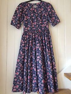 Vintage 1980s #laura ashley cotton full #skirt #floral dress size 12,  View more on the LINK: http://www.zeppy.io/product/gb/2/152048047675/