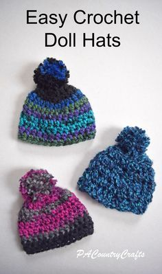 f5494d2ee0f Crochet these easy doll hats with chunky yarn- free pattern! Häkelpuppe  Muster