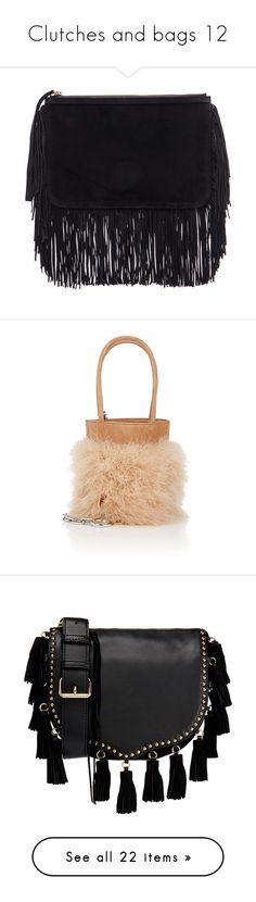 """""""Clutches and bags 12"""" by efiaeemnxo ❤ liked on Polyvore featuring bags, handbags, clutches, fringe purse, pouch purse, pierre hardy handbags, man bag, fringe clutches, shoulder bags and tan"""