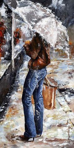 Rainy Day - Woman Of New York 15 Painting - Emerico Imre Toth