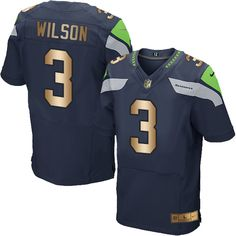 $22 Nike Seahawks #3 Russell Wilson Steel Blue Team Color Men's Stitched NFL Elite Gold Jersey