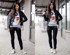 Aritzia X Disney Sweater, Vero Moda Jacket, Mango Pants, Converse Shoes
