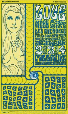 Poster by Wes Wilson (1937- ), 1966. Love, Moby Grape, Lee Michaels, West Coast Lithograph Co., SF.