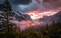Yosemite National Park in California at sunrise. Luminous mists are traveling through the mountains, showing off the view of these well known mountains. A far off waterfall, glowing clouds, and a foreground of well defined trees complete the view. Forest Mountain, Mountain Sunset, Mountain Landscape, Computer Wallpaper, Wallpaper Backgrounds, Wallpaper Wallpapers, Yosemite Wallpaper, 4k Background, Mountain Wallpaper