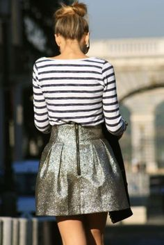 striped shirt & metallic skirt
