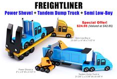 Buy the Freightliner Power Shovel + Tandem Dump Truck + Semi Low-Boy toy plan sets for One Low Price!