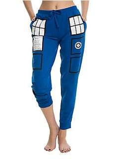 <p>Hey all you Whovians! You'l be hard-pressed to find a better, more comfy pair of pants to marathon <i>Doctor Who</i> in than these cos-play style TARDIS joggers with elastic drawstring waist. Fantastic!</p> <ul> <li>60% cotton; 40% polyester</li> <li>Wash cold inside out; dry low</li> <li>Imported</li> <li>Listed in junior sizes</li> </ul>