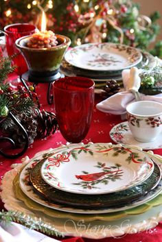 ❤❤❤ Copyrights unknown. Christmas Cardinal Dinnerware & Woodland Table setting.