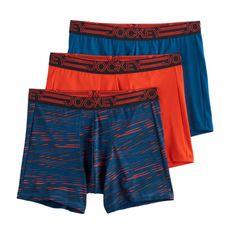 Men's Jockey 3-Pack Active Microfiber Boxer Briefs, Size: Medium, Dark Red