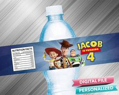 Toy Story 4 Water Bottle Label - PrintDParty Selling Birthday Invitation and Printable Party Decoration Digital File. Toy Story Invitations, Printable Birthday Invitations, 4th Birthday Parties, Special Birthday, Printable Labels, Party Printables, Waterproof Labels, Bag Toppers, Water Bottle Labels