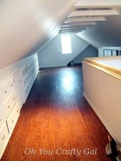 Oh You Crafty Gal: Attic Renovation Dream Craft and Sewing Room Part Final Results! Tons of Built In Storage Attic Renovation, Attic Remodel, Attic Bedrooms, Master Bedroom, Craft Room Design, Hanging Closet, Cozy Nook, Sewing Rooms, Built In Storage