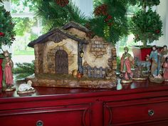 Beautiful creche coordinates with 10 pc Nativity or your own set.  Illuminates using a timer function.  H201240   http://qvc.co/ShopValerie