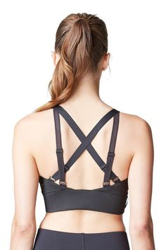 Silky soft 4-way stretch moisture wicking, breathable, high performance fabric   Elastic strap detailing with light gunmetal ring (lead-free & nickel-free)  Adjustable elastic back straps allow for maximum breathability and support #adjustable