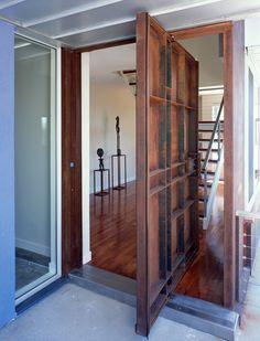 Belmont House Modern Home in California by Hariri & Hariri… on Dwell Modern Entrance Door, Entrance Doors, Belmont House, Architectural House Plans, Hallway Designs, Pivot Doors, Door Detail, External Doors, Smart Home Security