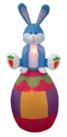 6 Foot Party Inflatable Bunny Sitting on Color Egg - Yard Blow Up Decoration