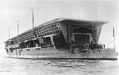 Stern view of HMS Furious taken in 1925, shortly after her reconstruction