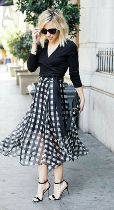 Airy Marissa Webb gingham skirt perfectly paired with a simple black crossover sweater Beauty And Fashion, White Fashion, Work Fashion, Fashion Outfits, Womens Fashion, Office Fashion, Fashion Fashion, Street Fashion, Fashion Trends