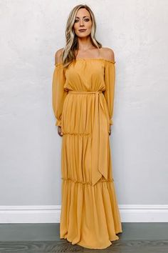 Isabel Off Shoulder Maxi Dress in Mustard Fall Dresses, Casual Dresses, Chiffon Material, Maternity Dresses, Maternity Clothing, Maternity Session, Yellow Dress, Fashion 2020, Dress Outfits