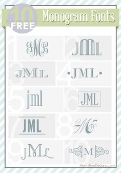 best ever FREE fonts for Monograms! Great ideas on how to use monograms too! | http://www.MoritzFineBlogDesigns.com