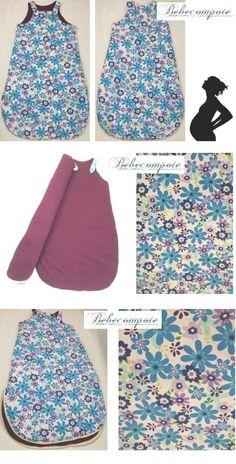 Tissu fleuri fleurs bleus gigoteuse cadeau naissance original produit unique puériculture bébé materne. Chambre literie linge. http://www.bebecompote.com