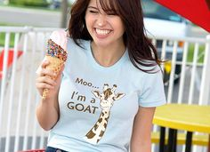 """Comfy, super soft graphic tees for women and girls.  """"Moo, I'm A Goat"""" shirt.  Funny shirts from SnorgTees."""