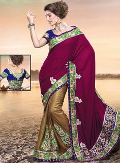 Outfit is a novel ways of getting yourself noticed.   This burgundy and dark fawn crepe and shimmer saree is nicely designed with embroidered patch work is done with resham, zari, sequins and stone work.   Beautiful embroidery work on saree make attractive to impress all.   This saree gives you a modern and different look in fabulous style.   Contrasting dark blue blouse is available.   Slight color variations are possible due to differing screen and photograph resolution.