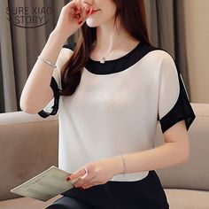 Womens tops and blouses fashion 2019 chiffon blouse plus size ladies tops shirts Solid Short O-Neck Batwing Sleeve 3397 50 Blouse Styles, Blouse Designs, Hijab Styles, White Short Sleeve Blouse, Summer Blouses, Plus Size Blouses, Chiffon Tops, Chiffon Shirt, Blouses For Women