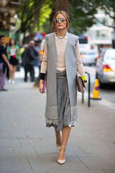 long tasseled vest in gray olivia palermo