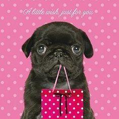 """A Little Wish for You"" pug birthday card (via Ebay)"