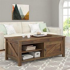 Rustic Coffee Table Aged Barn Wood LARGE Storage Shelves Sliding Door Organizer | eBay