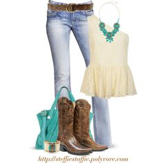 """""""Express jeans, Cowboy boots  Lace peplum"""" by steffiestaffie on Polyvore"""