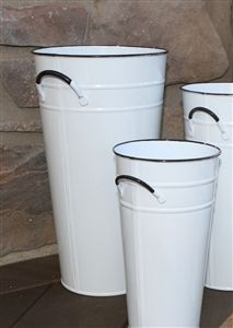 """Enamel White French Flower Bucket 18"""" - Tall Metal Florist Containers - Glossy Painted Vase"""