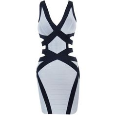 Sleeveless Plunging Neck  Backless Hollow Out  Dropped-Waist    Sexy Rayon Bandage Dress
