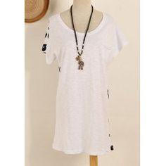 Street Fashion Letter Print Scoop Neck Short Sleeves Women's Casual Dress