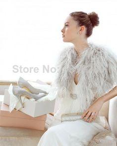 B77 Elegant Women Ostrich Feather Short Sleeve Grey Bridal Bolero Jacket Wrap Shawl Prom Wedding Accessory 2014 $83.00