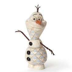 """Name: Olaf Introduction: January 2014 Item Number: 4050766 Material: Stone Resin Dimensions: 3.75 in H x 1.375 in W x 2.5 in L """"Do you want to build a Snowman?"""" Elsa discovers her wintery magic at a v"""