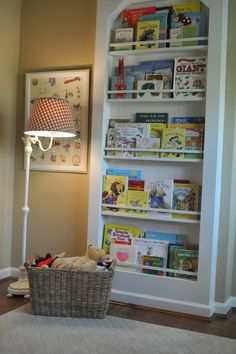 Built-In Bookcase baby room Built In Bookcase, Bookshelves, Bookcase Wall, Childrens Bookcase, Ideas Habitaciones, Toy Rooms, Kids Rooms, Big Girl Rooms, Kids Decor