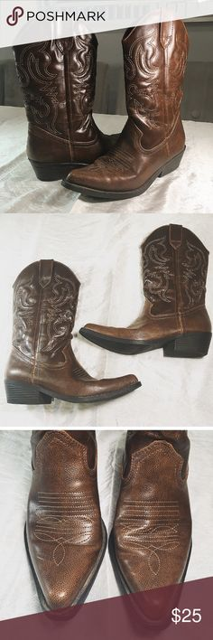 """Madden Girl Western Style Cowboy Boots 🐎 Madden Girl Sanguine Cowboy Boots with soft fabric shoe lining and lightly padded insole. Pull-on style and pointed toe. Wore only once for a wedding ceremony. Heel height: 1.5"""" Boot Height: 12"""". Comes with original wrapping tissue and box. Madden Girl Shoes Heeled Boots"""