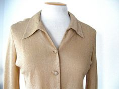 Vintage 60s Gold Lame Blouse Disco Funky by ErmaJewelsVintage, $25.00