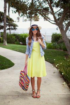 lightweight dress, denim jacket, bright bag, panama hat