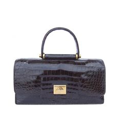 Authentic Hermes Vintage Handbag Brown Crocodile | From a collection of rare vintage evening bags and minaudières at https://www.1stdibs.com/fashion/handbags-purses-bags/evening-bags-minaudieres/