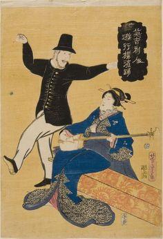 An Englishman Dancing. 1861 Japanese print